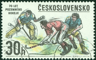 Stamp printed in Czechoslovakia shows image of Hockey