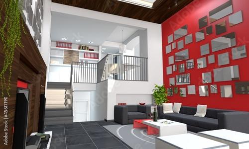 wohnzimmer auf zwei ebenen stockfotos und lizenzfreie