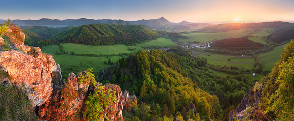 Mountain sunset panorama in Slovakia