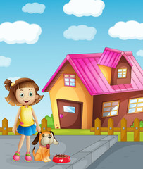 Tuinposter Honden girl, dog and house