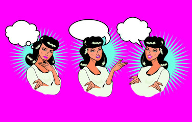 Vintage vector woman different facial expressions talking, think