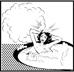 Retro Woman in the bath nude with duck Washing head with bubbles
