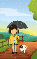 Poster de jardin Chiens girl and dog