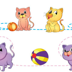 Deurstickers Katten cats and ball