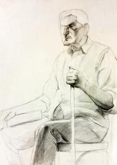 Senior man drawing