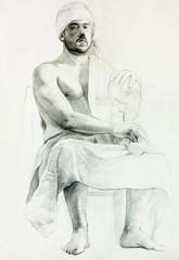 Sitting man portrait