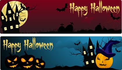 Two halloween banners