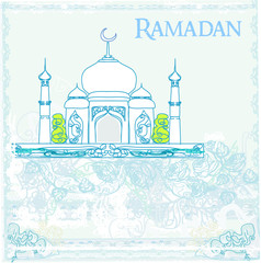 Ramadan background - mosque silhouette illustration card