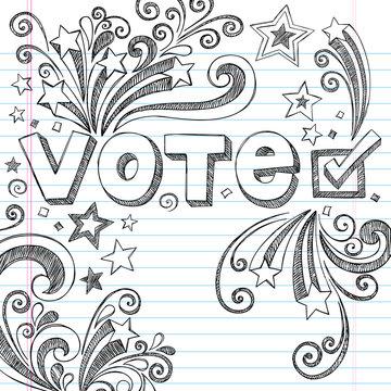 Vote Presidential Election Sketchy Doodles Vector