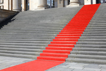 Red carpet stairway, clipping path included