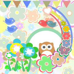 Background with owl, flowers, birds and trees