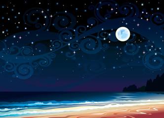 Cloudy sky with full moon, beach and sea