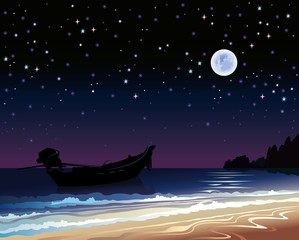 Sky with full moon and boat