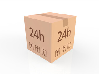 Obraz Przesyłka e-commerce - karton, paczka, wyizolowany na białym tle - fototapety do salonu