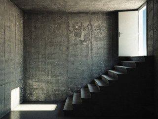 Interior room with concrete walls and stairs Wall mural