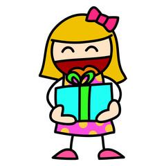 Child and gift hand writing cartoon.
