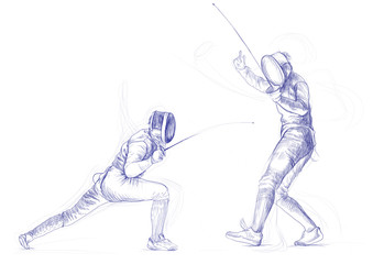 fencing - hand drawing picture (this is original drawing)