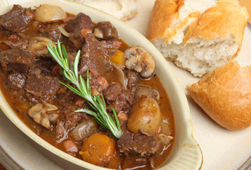 Beef Bourguignon Stew with Bread