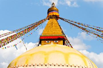 Colorful holy flags on Boudhanath temple stupa Kathmandu Nepal