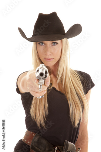 quotcowgirl point gun seriousquot stock photo and royaltyfree