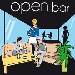 serveur, bar, pub, café, restaurant, métier, travail