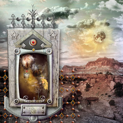 Printed roller blinds Imagination Holy temple in the wasteland