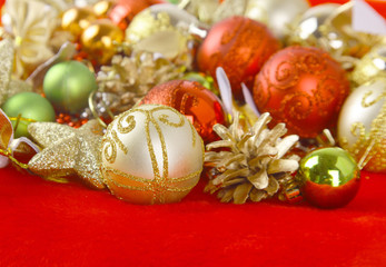 A group of colorful Christmas baubles