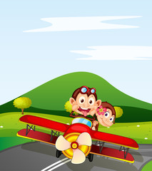 Poster Airplanes, balloon monkey and aeroplane