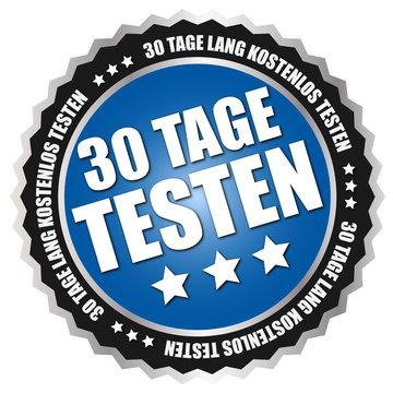 """Button """"30 Tage testen"""" Blau/Schwarz/Silber"""