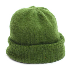 Woolen knit hat for cold weather. Handmade work.
