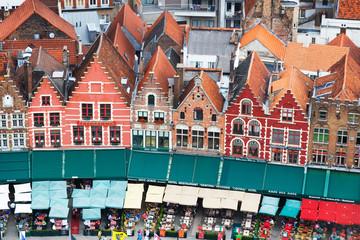 Fototapeten Brugge Roofs of Flemish Houses in Brugge, Belgium