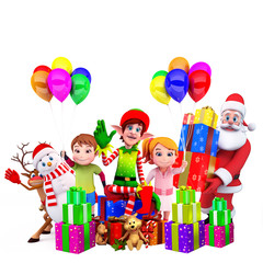 elves sitting on a box with santa and kids