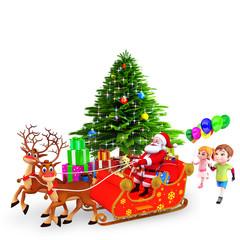 kids are running behind sleigh