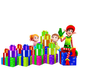 elves sitting on the gift box with kids