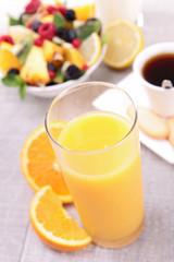 orange juice and fruits
