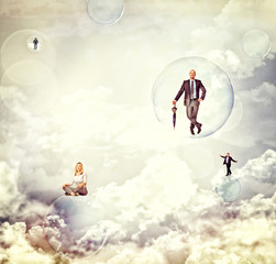 people in the sky
