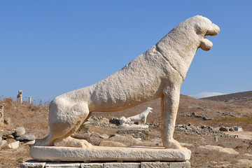 Terrace of the Lions in Delos Island,Greece