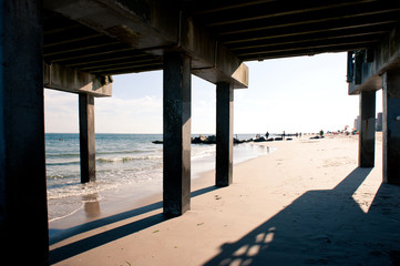 Pier. Beach at Coney Island, New York City.