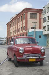 Garden Poster Cars from Cuba Red old car