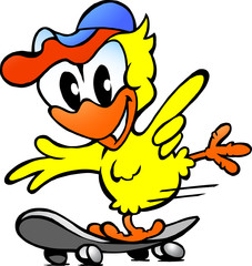 illustration of an cute baby chicken on skateboard