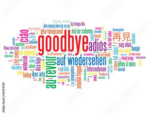 """Vector: """"GOODBYE"""" Tag Cloud (farewell good luck travel au revoir adios ..."""
