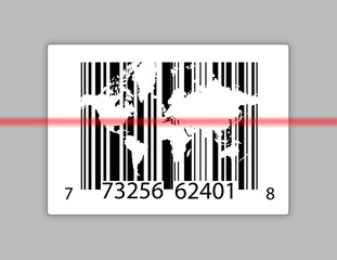 barcode with world map over gray