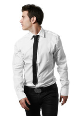 Young handsome male model posing white background studio shot wi