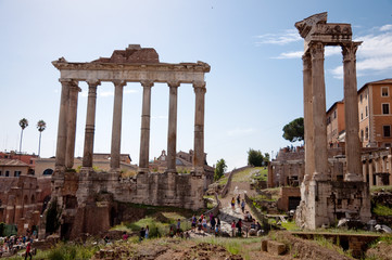 Wall Mural - Columns Ruins at foro romano - Roma - Italy