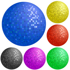 Set of colorful disco balls