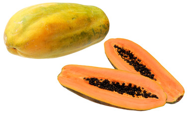ripe papaya isolated on white