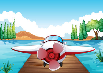 Printed roller blinds Airplanes, balloon Jetty and aeroplane