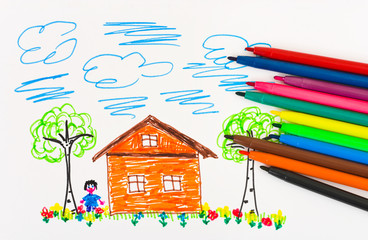 Child's drawing and pens