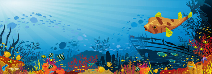 Coral reef with fish, puffer and silhouette of sunken ship
