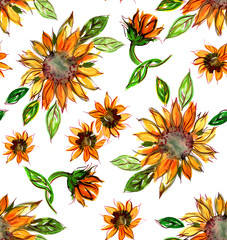 Seamless Watercolor Pattern with Sunflowers